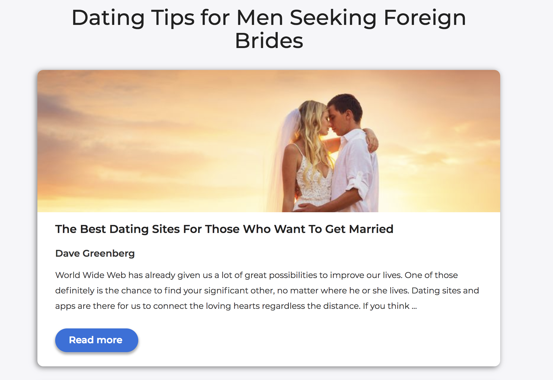 Dating site for those who want to get married
